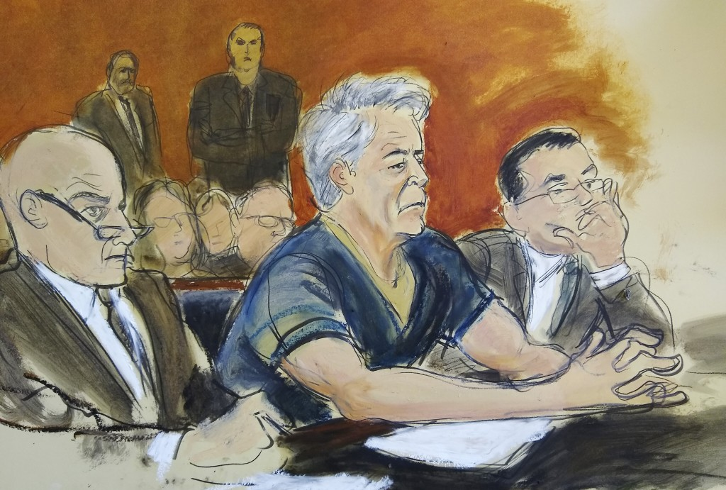 In this courtroom artist's sketch, defendant Jeffrey Epstein, center, sits with attorneys Martin Weinberg, left, and Marc Fernich during his arraignme