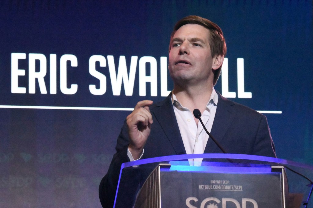 FILE - In this June 22, 2019, file photo, Rep. Eric Swalwell, D-Calif., speaks to the South Carolina Democratic Party convention in Columbia, S.C. Swa...