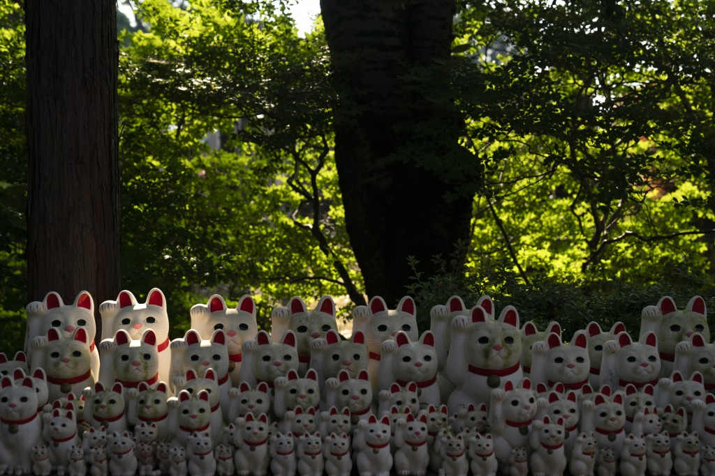 In this June 25, 2019, photo, beckoning cat figurines are on display at Gotokuji Temple in Tokyo. According to a centuries-old legend provided by the ...