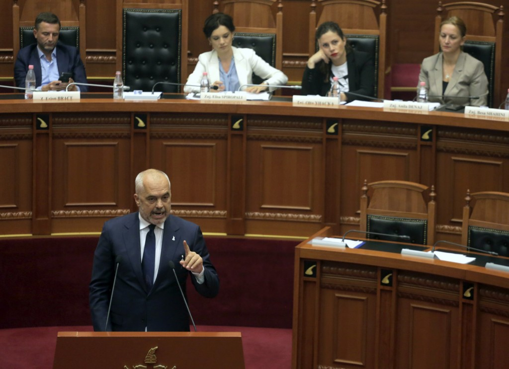 Albanian Prime Minster Edi Rama speaks during a parliament session in Tirana, Monday, July 8, 2019. Albania's parliament has created an investigative