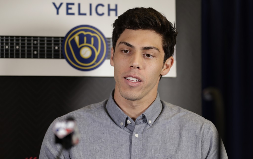 Milwaukee Brewers' Christian Yelich speaks at a ne...