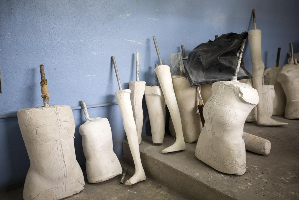This May 21, 2019 photo shows plaster casts at the prosthetic limb workshop in the St. Vincent's Center in Port-au-Prince, Haiti. The center first beg...