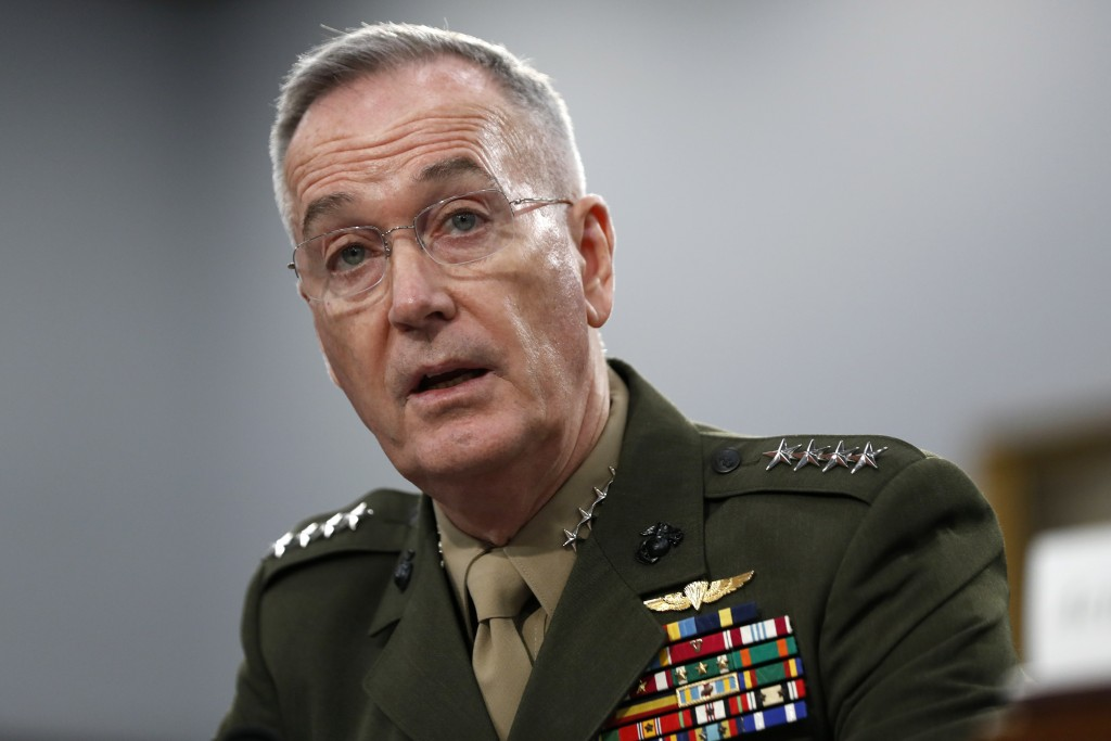 FILE - In this May 1, 2019, file photo, Joint Chiefs of Staff Chairman Gen. Joseph Dunford testifies during a House Appropriations subcommittee on bud