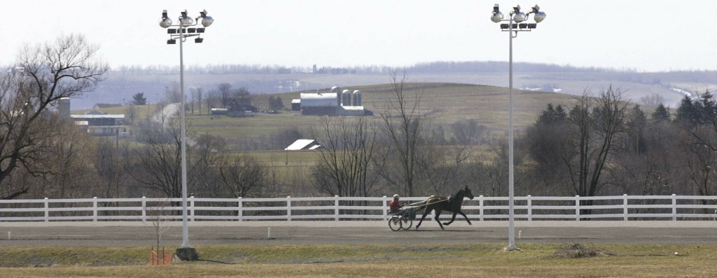 FILE - This March 30, 2004 file photo shows a horse and driver on the track at Vernon Downs in Verona, N.Y. Oneida County Sheriff Rob Maciol is among