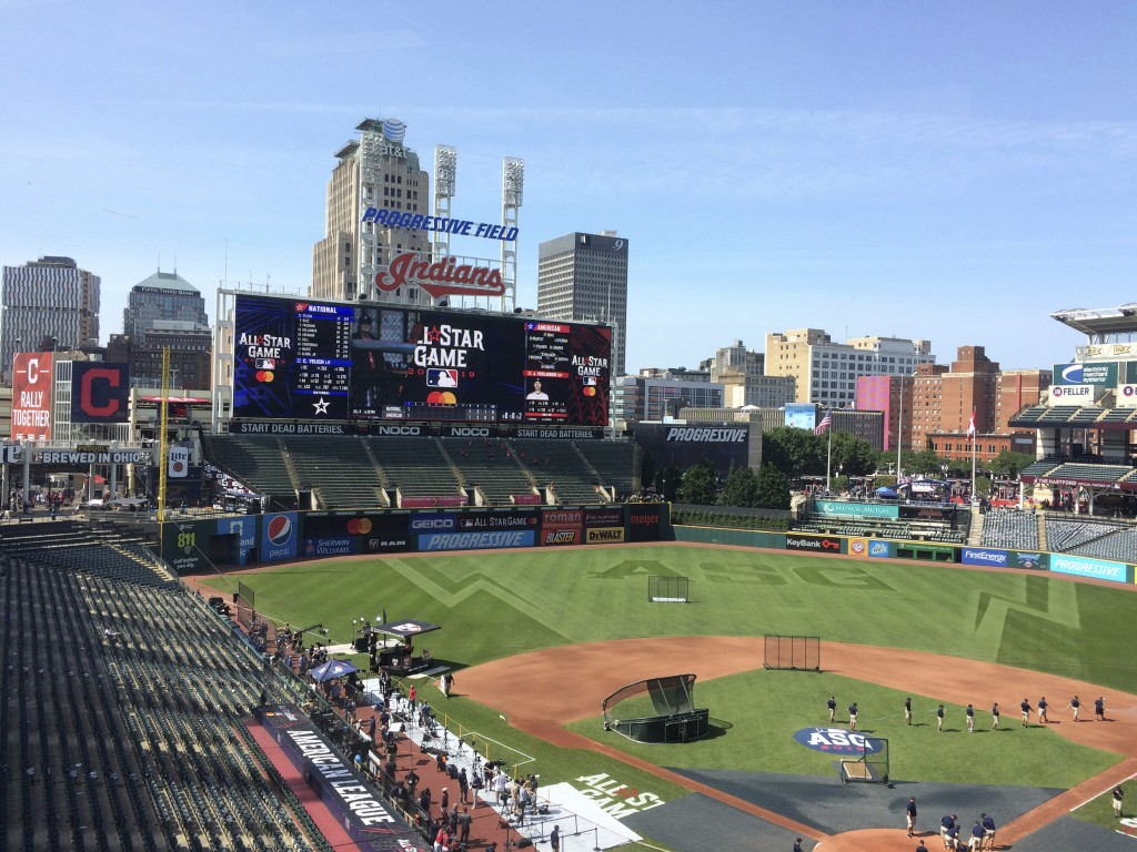 Stadium workers prepare Progressive Field for the Major League Baseball All-Star Game in Cleveland Tuesday, July 9, 2019. The biggest misplay of the n...