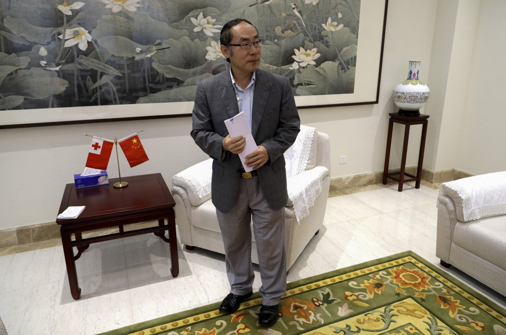 In this April 9, 2019, photo, China's ambassador t...