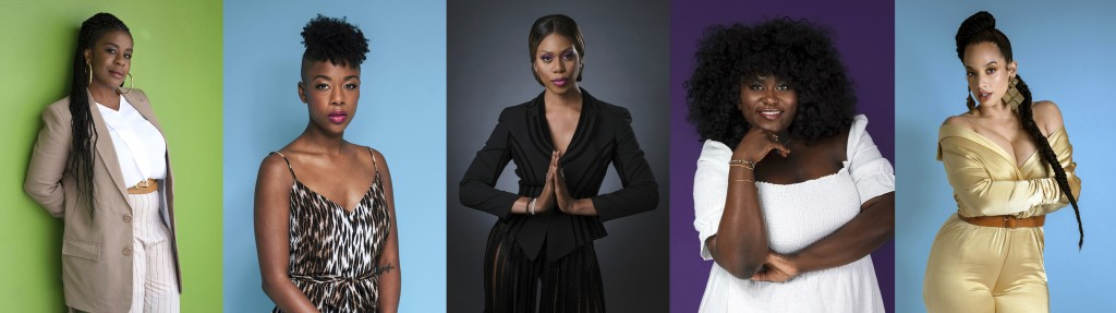 This combination photo shows actresses, from left, Uzo Aduba, Samira Wiley, Laverne Cox, Danielle Brooks and Dascha Polanco posing for a portrait in N