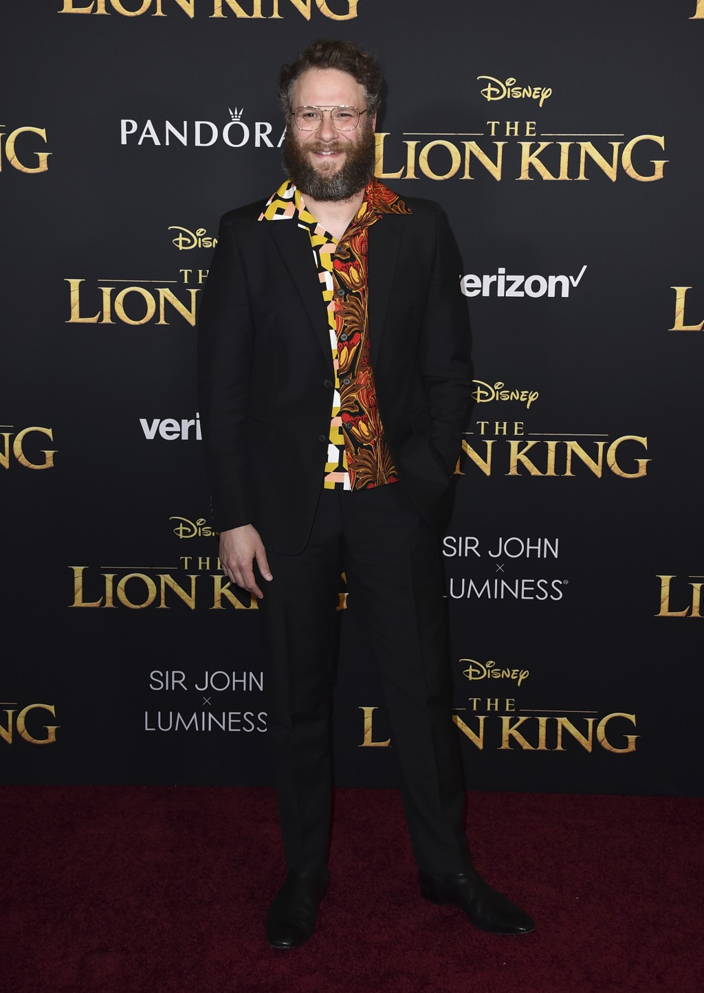 """Seth Rogen arrives at the world premiere of """"The Lion King"""" on Tuesday, July 9, 2019, at the Dolby Theatre in Los Angeles. (Photo by Jordan Strauss/In"""