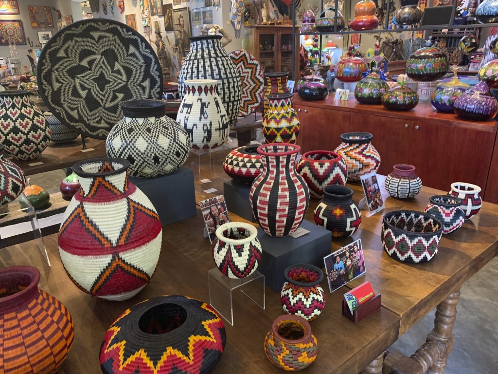 This June 17, 2019 photo shows a collection of Wounaan woven baskets from Colombia, at Galeria Atotonilco near San Miguel de Allende, Mexico. (Emil Va