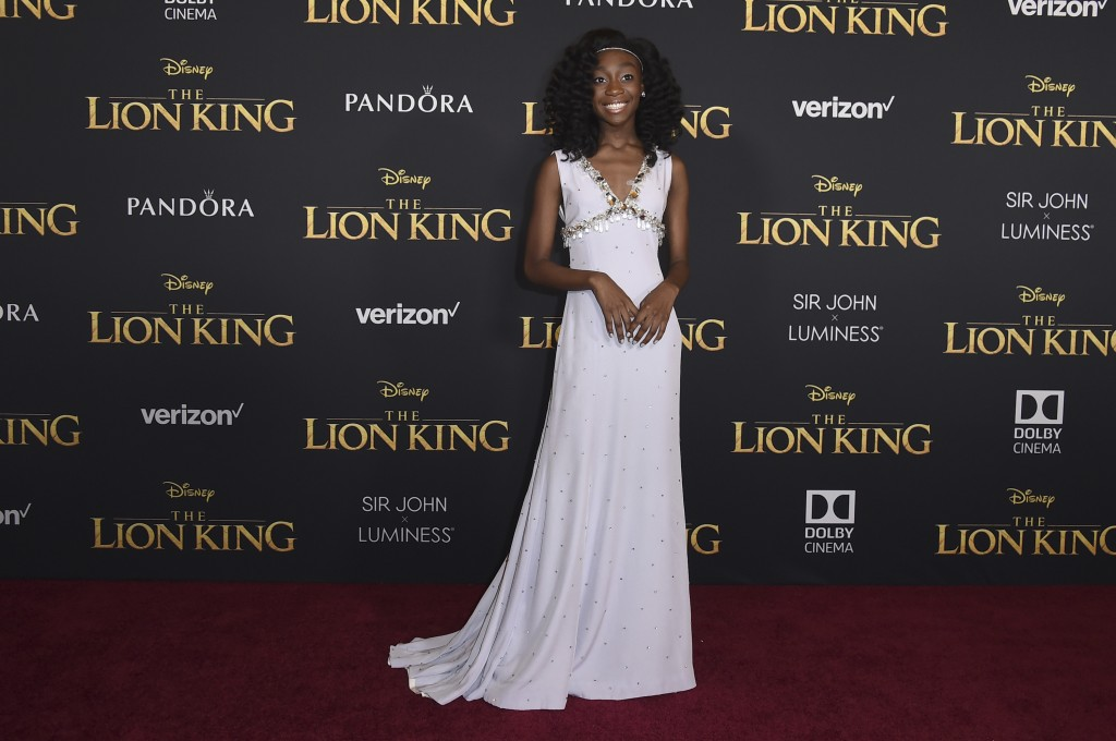 """Shahadi Wright Joseph arrives at the world premiere of """"The Lion King"""" on Tuesday, July 9, 2019, at the Dolby Theatre in Los Angeles. (Photo by Jordan"""