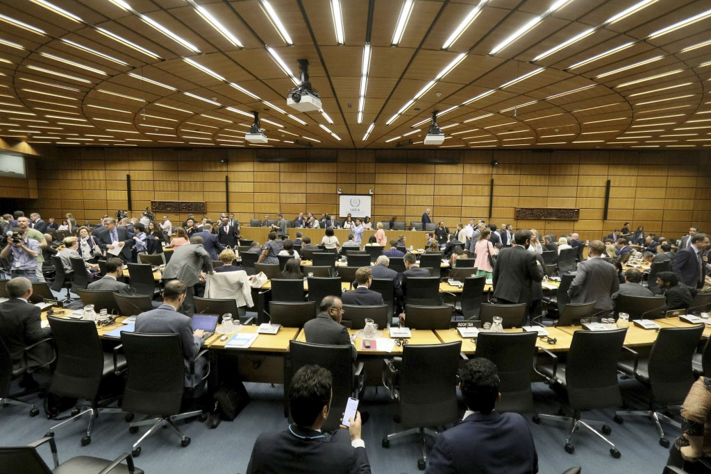 General view of the board of governors meeting of the International Atomic Energy Agency, IAEA, at the International Center in Vienna, Austria, Wednes