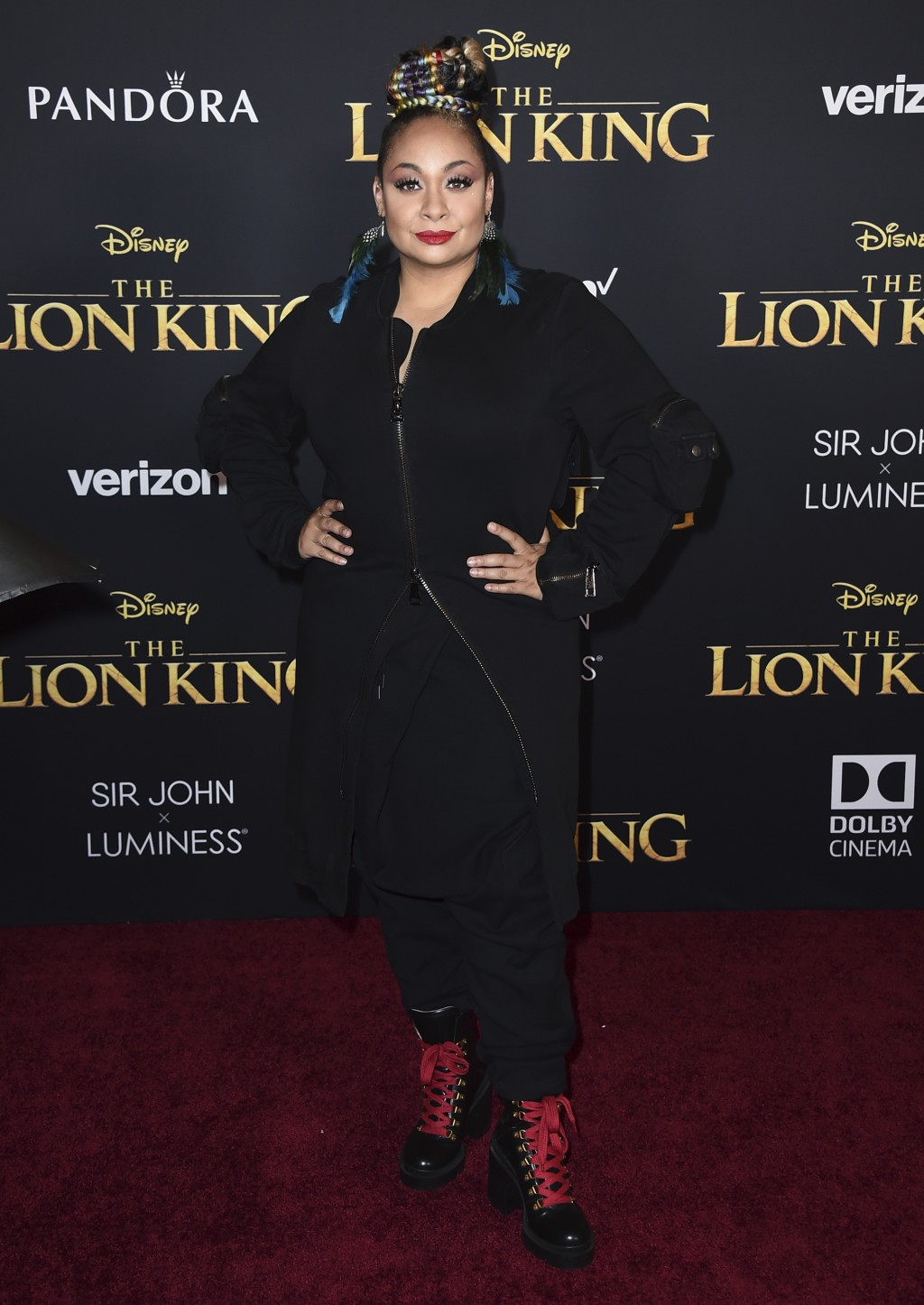 """Raven-Symone arrives at the world premiere of """"The Lion King"""" on Tuesday, July 9, 2019, at the Dolby Theatre in Los Angeles. (Photo by Jordan Strauss/"""
