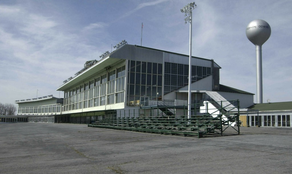FILE - This March 30, 2004 file photo, shows the grand stands at Vernon Downs in Verona, N.Y.  Oneida County Sheriff Rob Maciol is among the local off...