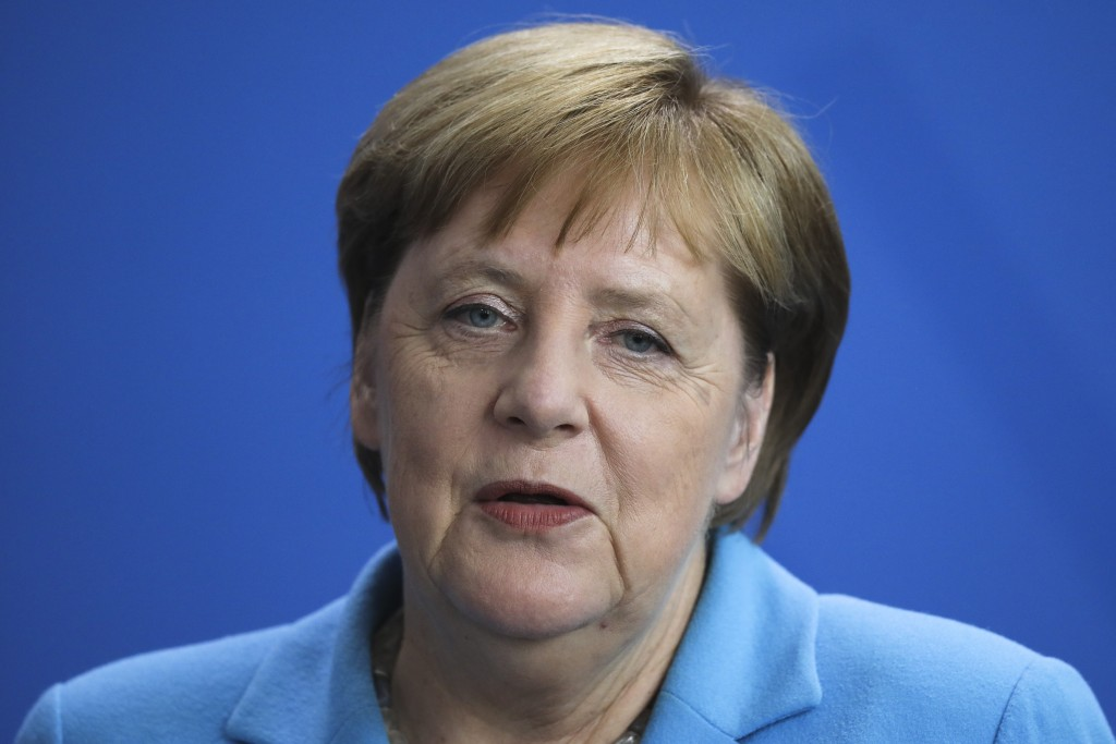 German Chancellor Angela Merkel answers to questions during a news conference following a meeting with the Prime Minister of Finland Antti Rinne at th