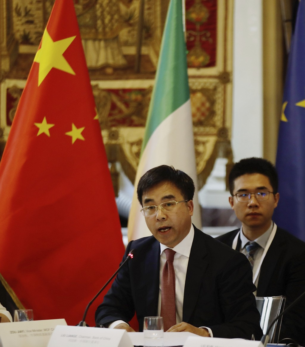 Bank of China chairman, Liu Liange, delivers his speech, on the occasion of the Italy-China Financial forum, at Palazzo Marino town hall, in Milan, It...