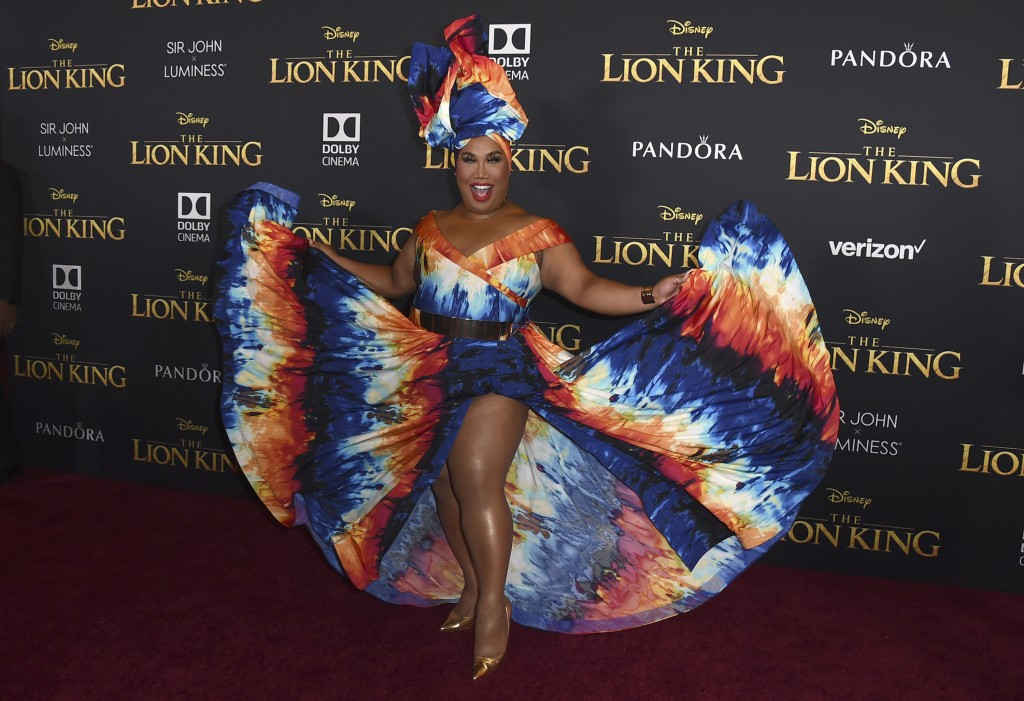 """Patrick Starrr arrives at the world premiere of """"The Lion King"""" on Tuesday, July 9, 2019, at the Dolby Theatre in Los Angeles. (Photo by Jordan Straus"""