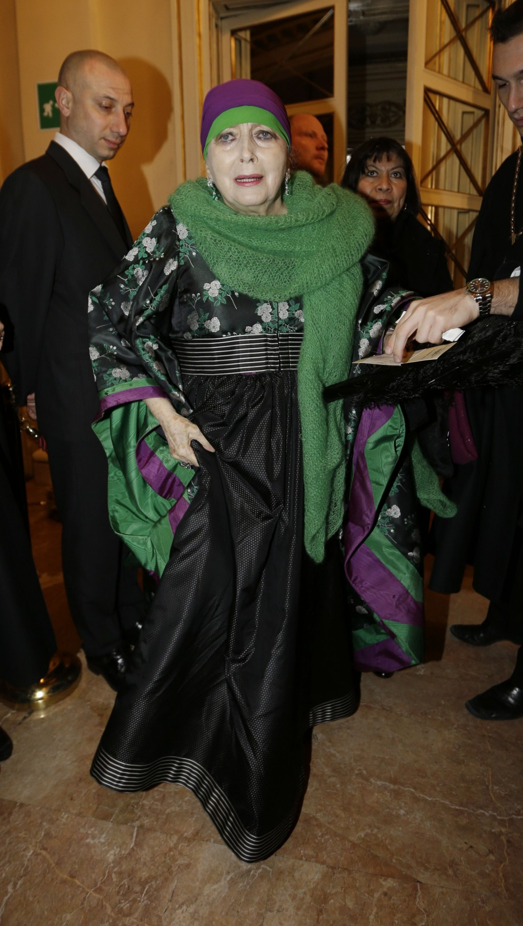 FILE - In this photo taken on Dec. 7, 2012, Italian actress Valentina Cortese arrives at the Milan La Scala theater, Italy. The renown actress, who wo...