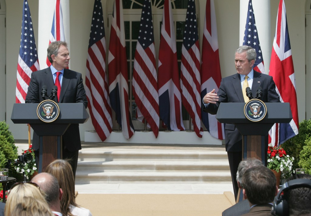 FILE - In this Thursday, May 17, 2007 file photo, President Bush, right, and British Prime Minister Tony Blair take part in a joint press conference i