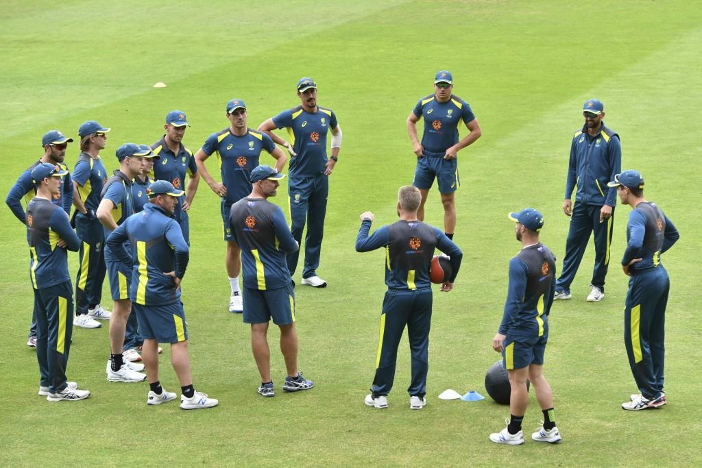 Australia cricket team talk during the nets session at Edgbaston in Birmingham, England, Tuesday July 9, 2019.  Australia play England in their ODI Cr...