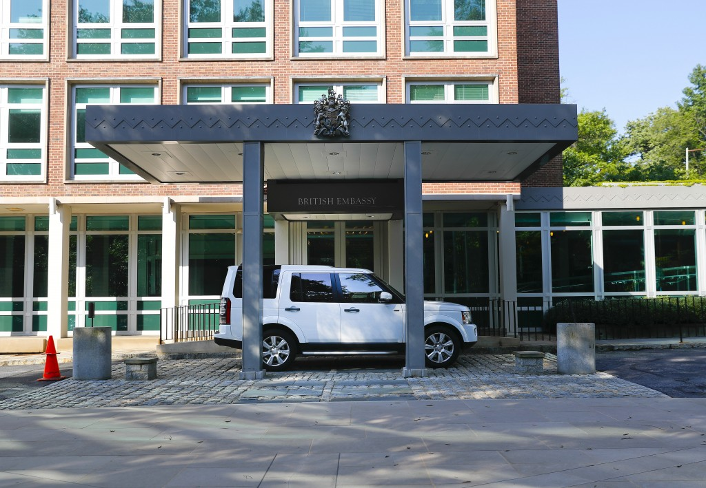 A vehicle is seen parked outside the entrance to the British Embassy in Washington, Wednesday, July 10, 2019. British ambassador to the U.S., Kim Darr...