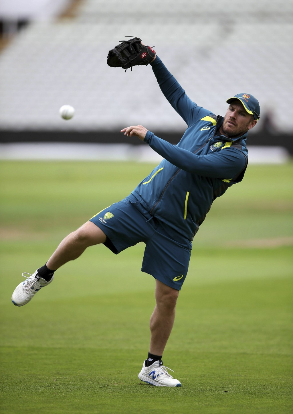 Australia's Aaron Finch fields during the nets session at Edgbaston, Birmingham, England, Wednesday July 10, 2019 one day ahead of their Cricket World