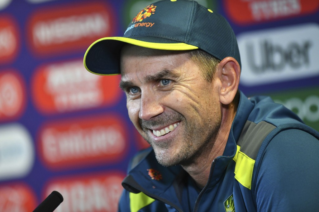 Australia's Justin Langer speaks at a press conference during the nets session at Edgbaston in Birmingham, England, Tuesday July 9, 2019.  Australia p