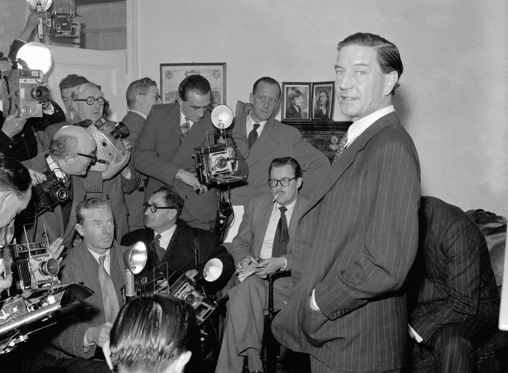 FILE - In this Nov. 8, 1955 file photo, former British diplomat Kim Philby, who was at that time accused of spying for Russia, during a press conferen