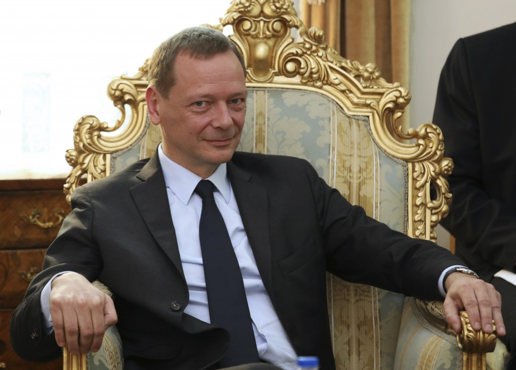 French presidential envoy Emmanuel Bonne sits in a meeting with Secretary of Iran's Supreme National Security Council Ali Shamkhani in Tehran, Iran, W...