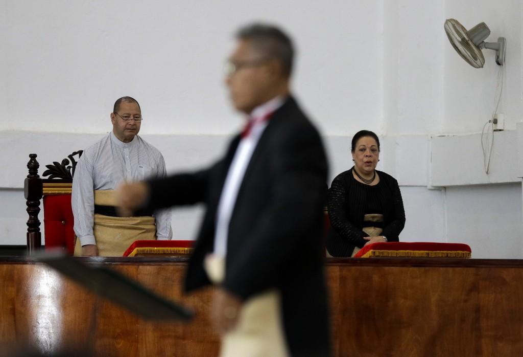 In this April 7, 2019, photo, Tonga King Tupou VI,...