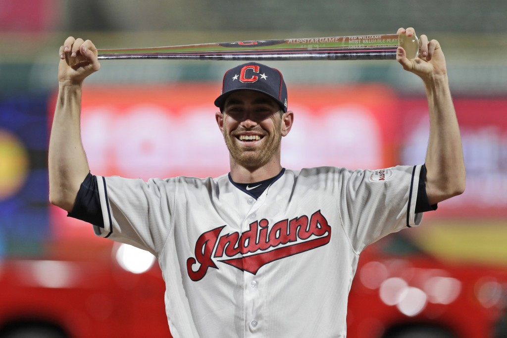 American League pitcher Shane Bieber, of the Cleveland Indians, holds the MVP trophy the MLB baseball All-Star Game, Tuesday, July 9, 2019, in Clevela...