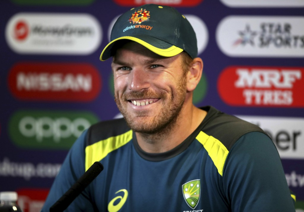 Australia's Aaron Finch smiles during a press conference at Edgbaston, Birmingham, England, Wednesday July 10, 2019 one day ahead of their Cricket Wor...