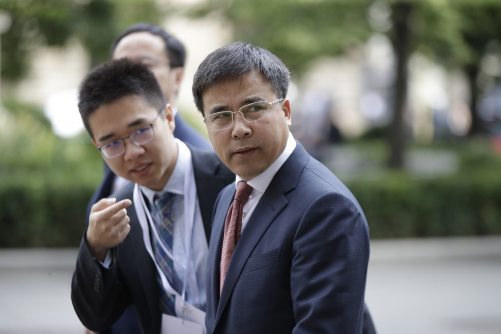 Bank of China chairman, Liu Liange, arrives on the occasion of the Italy-China Financial forum, at Palazzo Marino town hall, in Milan, Italy, Wednesda...