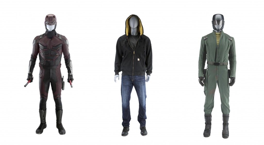 "This combination of photos released by Marvel Entertainment shows costumes from Marvel characters, from left, Matt Murdock's costume from ""Marvel's Da"