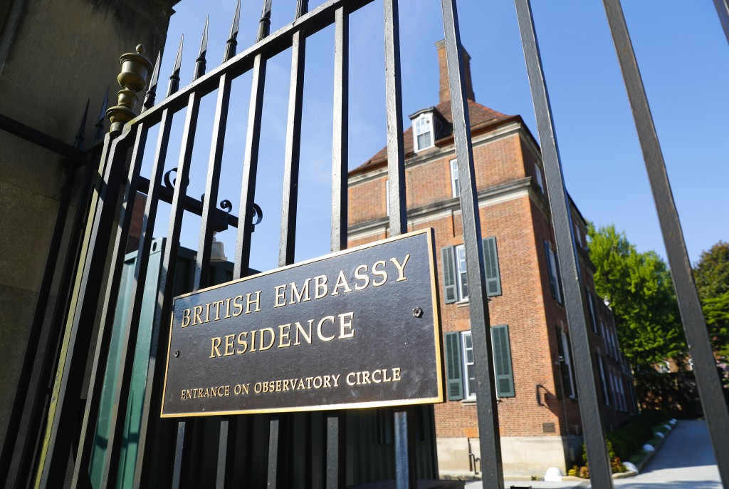 The British Embassy Residence in Washington, Wednesday, July 10, 2019. British ambassador to the U.S., Kim Darroch, resigned Wednesday, just days afte