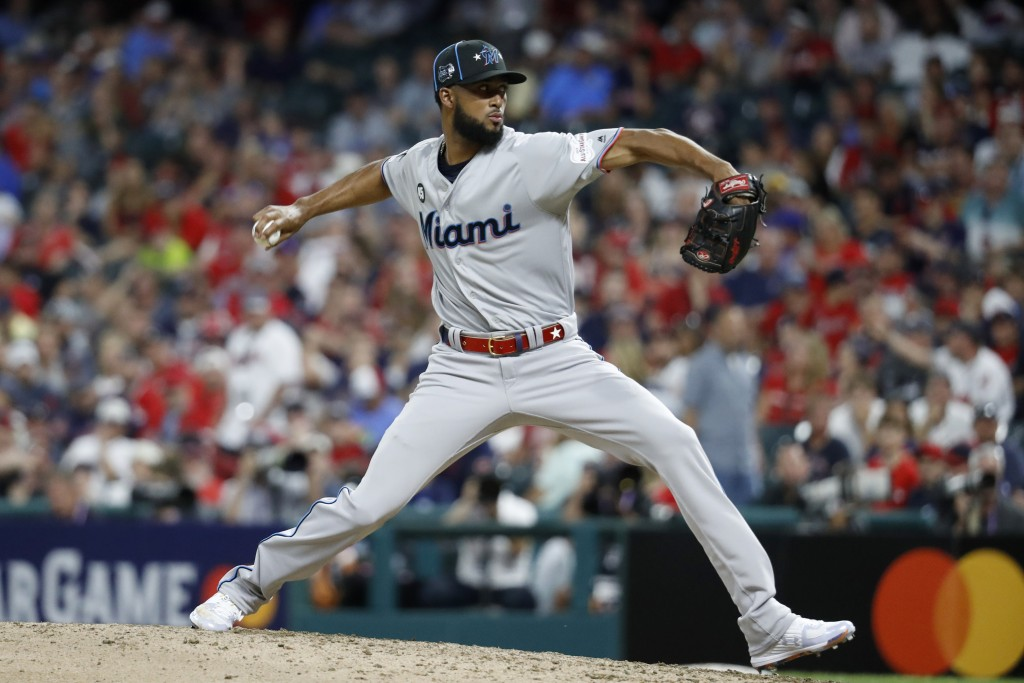 National League pitcher Sandy Alcantara, of the Miami Marlins, throws during the eighth inning of the MLB baseball All-Star Game against the American ...