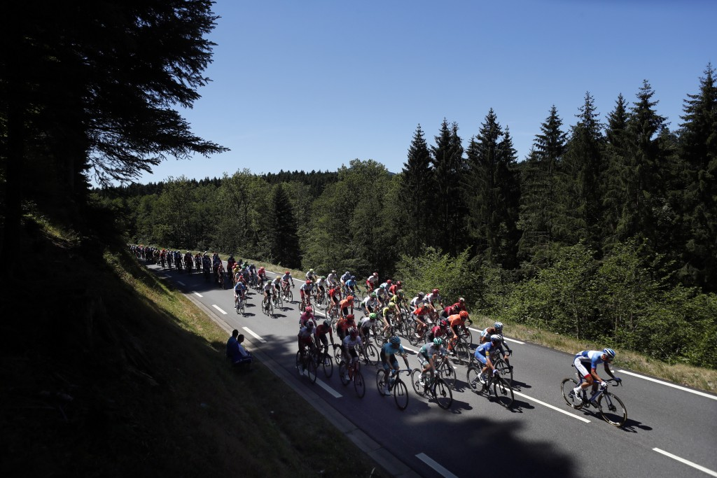 The pack rides during the fifth stage of the Tour de France cycling race over 175.5 kilometers (109 miles) with start in Saint-Die-Des-Vosges and fini