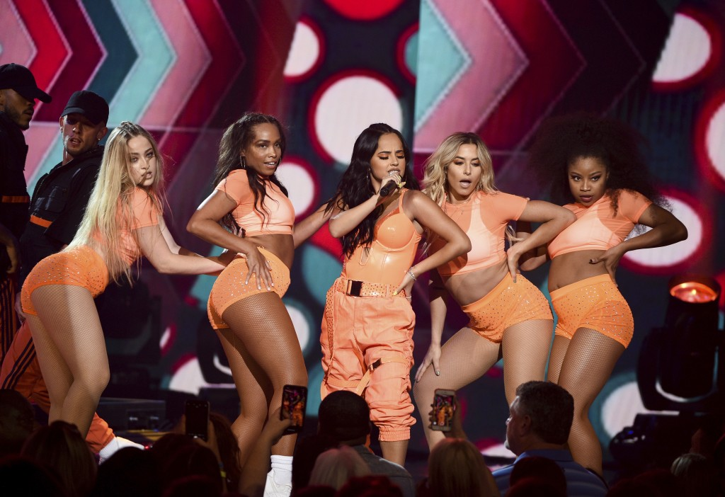 Singer Becky G, center, performs at Amazon Music's Prime Day concert at the Hammerstein Ballroom on Wednesday, July 10, 2019, in New York. (Photo by E...