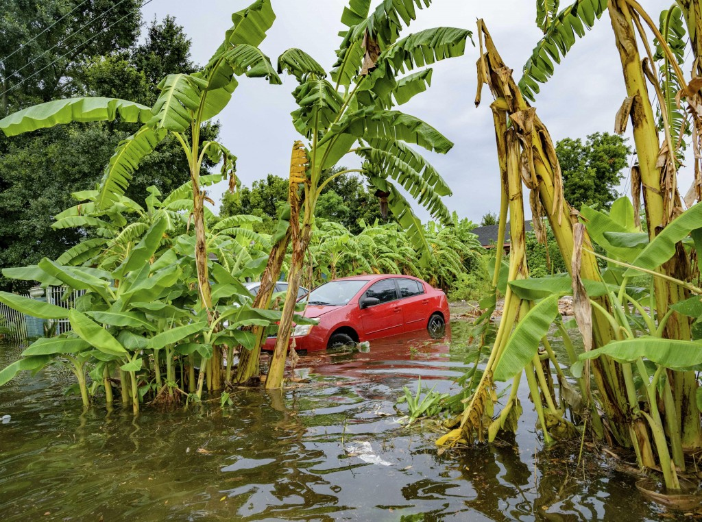 Flooding comes up the wheels of a parked car on Belfast Street near Eagle Street in New Orleans Wednesday, July 10, 2019 after flooding from a 100-yea...