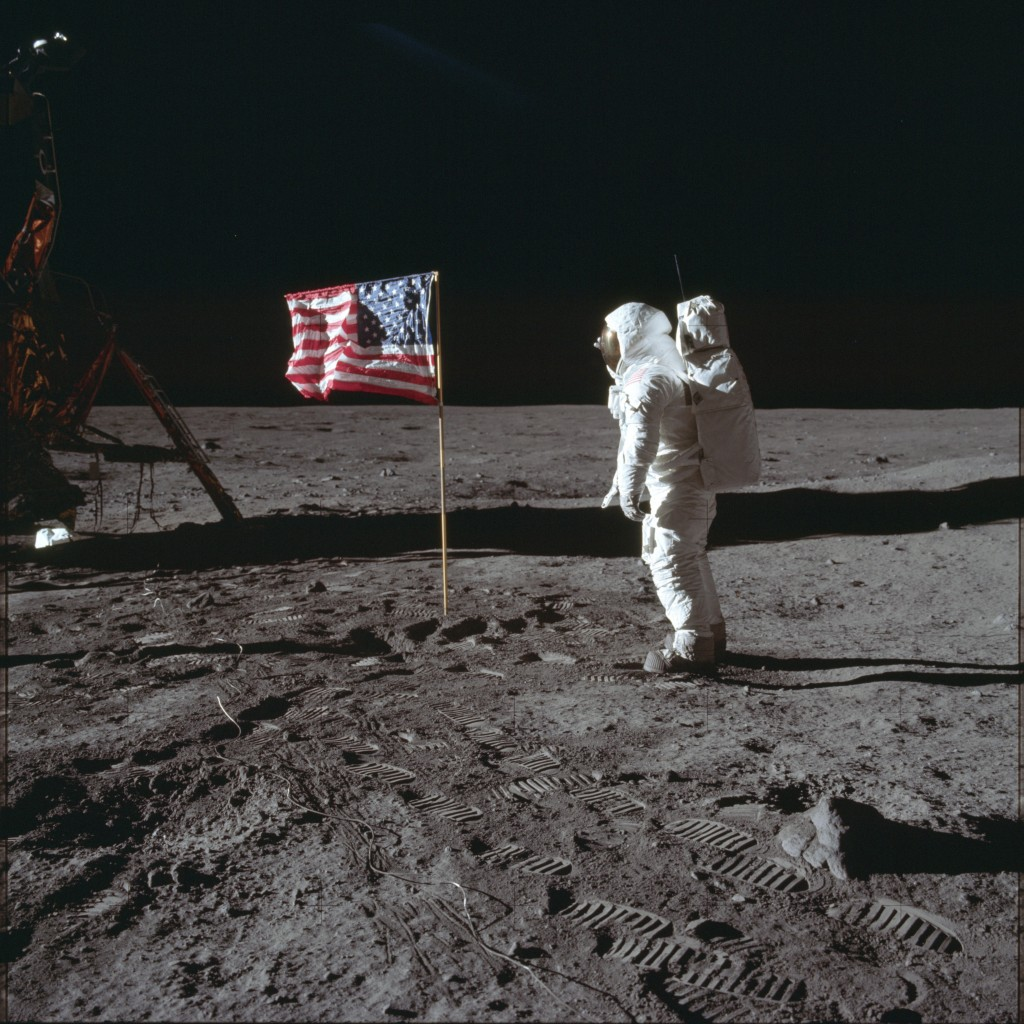 ADVANCE FOR USE SATURDAY, JULY 13, 2019 AND THEREAFTER-In this July 20, 1969 photo made available by NASA, astronaut Buzz Aldrin Jr. stands next to th