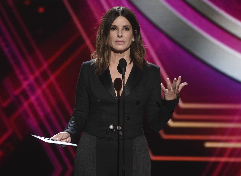 Sandra Bullock presents the award for best team at the ESPY Awards on Wednesday, July 10, 2019, at the Microsoft Theater in Los Angeles. (Photo by Chr...