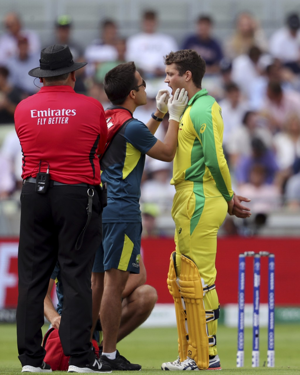 Australia's batsman Alex Carey, right, gets some treatment form a team-medic after hit on his chin by a delivery from England's Chris Woakes during th...