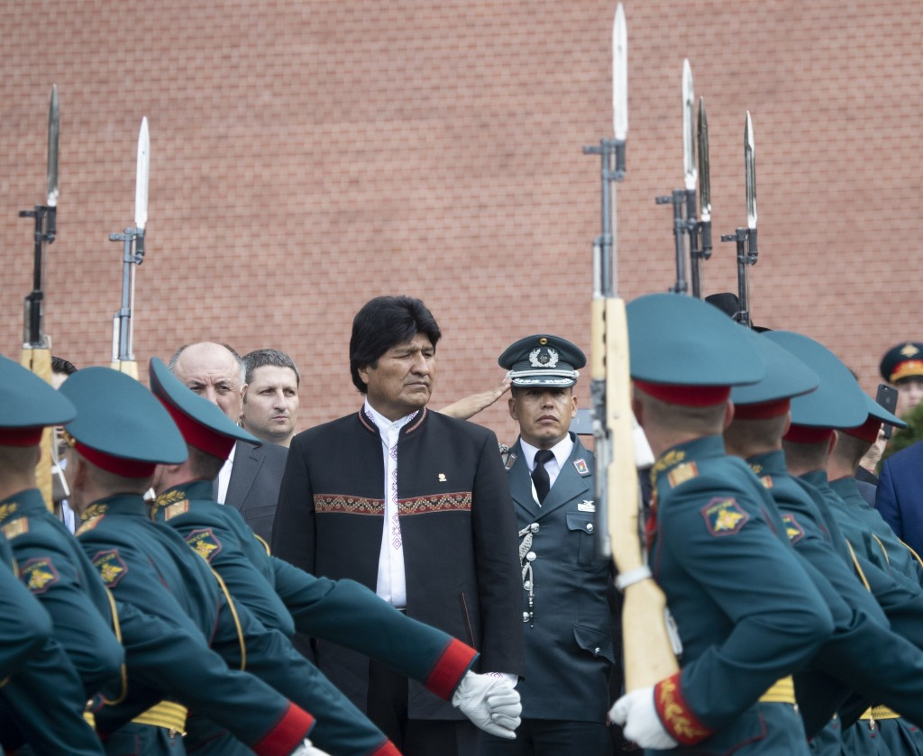 Bolivia's President Evo Morales, center, attends a...