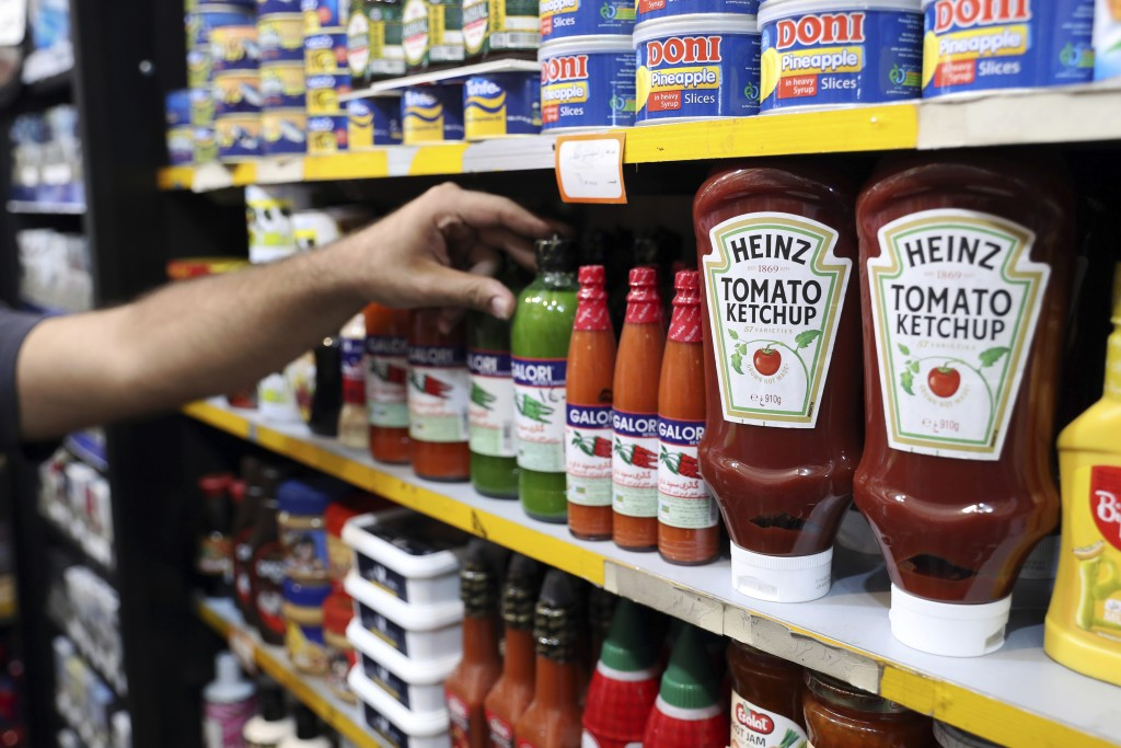 Heinz Ketchups are displayed in a grocery store in downtown Tehran, Iran, Wednesday, July 10, 2019. Whether at upscale restaurants or corner stores, A