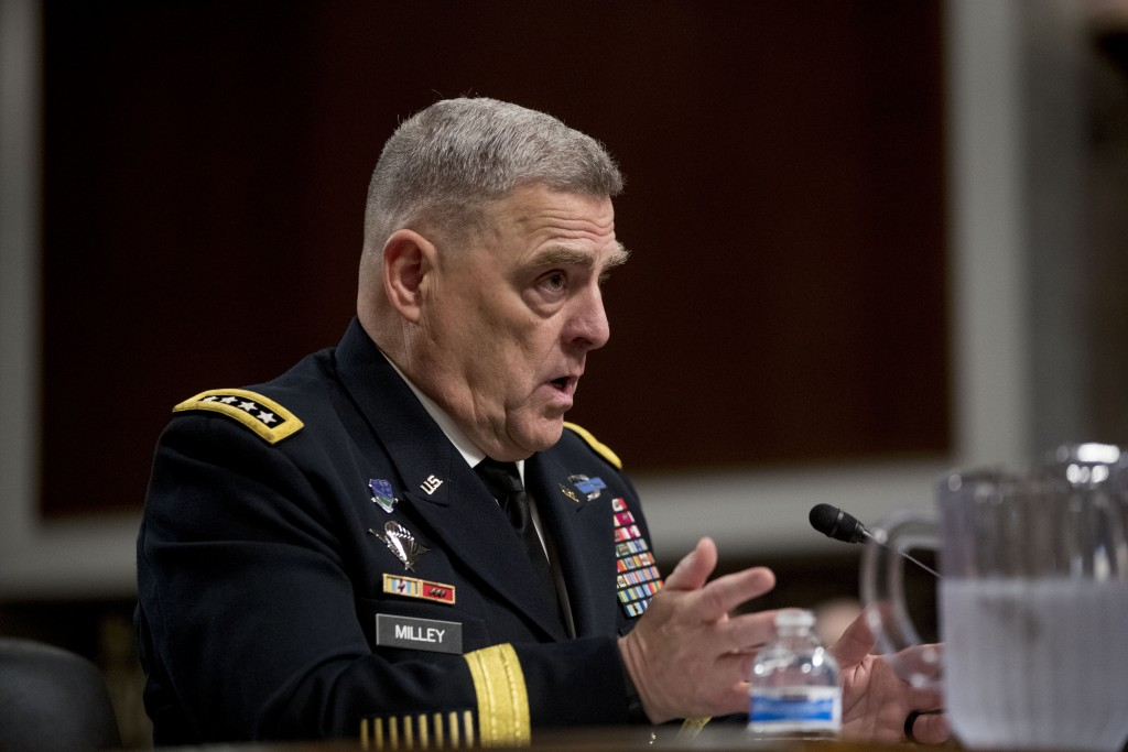 Gen. Mark Milley speaks at a Senate Armed Services Committee hearing on Capitol Hill in Washington, Thursday, July 11, 2019, for reappointment to the