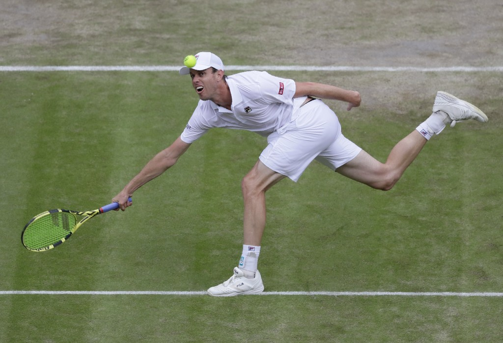 United States' Sam Querrey returns the ball to Spain's Rafael Nadal United States' Sam Querrey during a men's quarterfinal match on day nine of the Wi...
