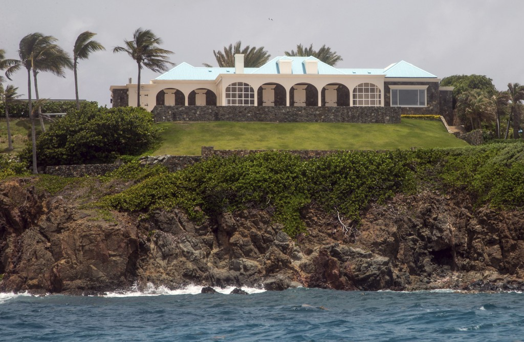 This Tuesday, July 9, 2019 photo shows a structure on Little Saint James Island, in the U. S. Virgin Islands. Locals recalled seeing Jeffery Epstein's...