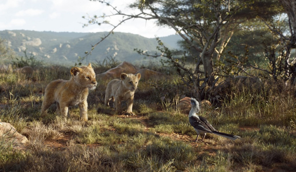 This image released by Disney shows, from left,  young Simba, voiced by JD McCrary, young Nala, voiced by Shahadi Wright Joseph, and Zazu, voiced by J