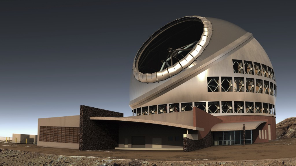 FILE - This undated file illustration provided by Thirty Meter Telescope (TMT) shows the proposed giant telescope on Mauna Kea on Hawaii's Big Island.