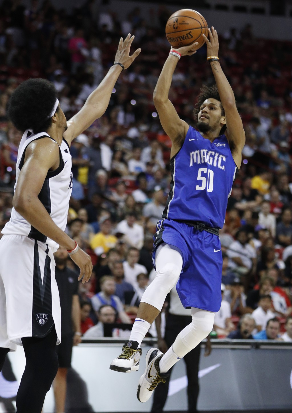Orlando Magic's Jeremiah Hill shoots against the Brooklyn Nets during the second half of an NBA summer league basketball game Wednesday, July 10, 2019...