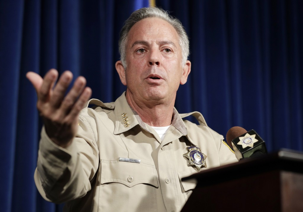 FILE - In this Aug. 3, 2018, file photo, Clark County Sheriff Joe Lombardo speaks at a news conference regarding the Oct. 1, 2017 mass shooting in Las